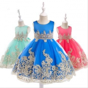 China Wholesale Baby Frock Latest Kids Clothing Lace Frock Designs Wedding Party Bridesmaid on sale
