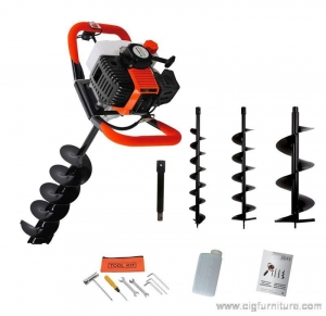 China 52cc Petrol Earth Auger 3HP Post Hole Borer Ground Drill with 3 Bits + Extension on sale