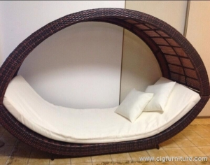 China PE Wicker Day Bed/Sun Lounge - Removable Canopy Outdoor Sofa Rattan Furniture on sale
