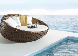 China Imported Outdoor Furniture, Brown Poly Rattan Day Bed, Sun Lounges, Luxury on sale