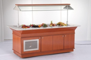 China Salad Bar With Glass Lift-up Cover For Buffet on sale