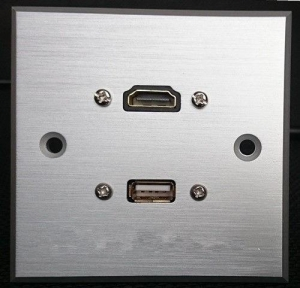 China HDMI & USB Aluminum Alloy Wall Plate , Electrical Wall Socket For Hotel / Home on sale