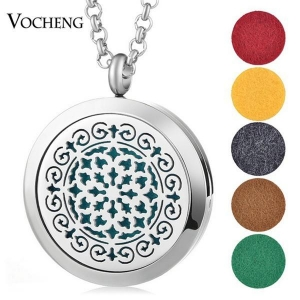 China 30mm Essential Oils Diffuser Locket Necklace Flower 316L Stainless Steel Magnetic VA-262 on sale