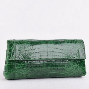 China Flap cover Crocodile clutch bags, Green on sale