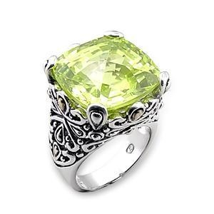 China Sterling Silver 925 Band Ring , Two Tone , With Apple Yellow Cubic Zirconia _MI04208SS on sale