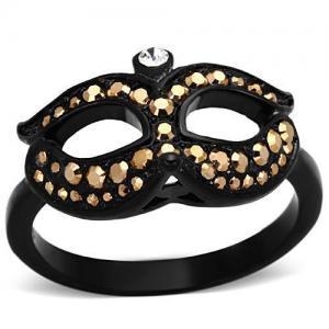 China Stainless Steel Metallic Light Gold Crystal Mask Black Ring, MITK129907288 on sale