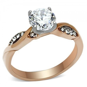 China 1.25 Ct Stainless Steel Rose Gold Round CZ Engagement Ring, MITK116307159 on sale