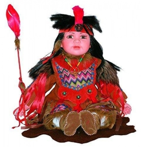 China Golden Keepsakes Collectible Heirloom Native American 24 Porcelain Doll Antinanco on sale