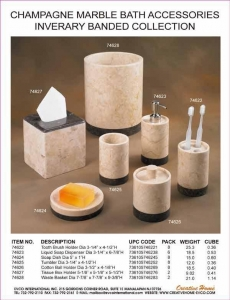 China Genuine Marble Bath Accessories Champagne Marble Bath Accessories - Inverary Banded Collection on sale