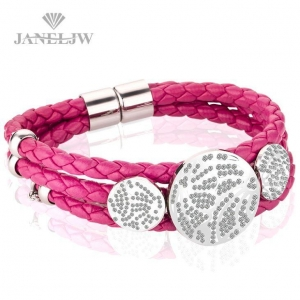 China Jewelry Bracelets Titanium Steel Red Leather Bracelets for Men and Woman on sale