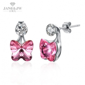 China Jewelry Earrings Crystal 925 Sterling Silver Flower Stud Earrings on sale