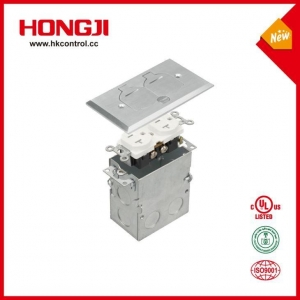 China Nickel Plated Brass Flip Lid One Gang Rectangular Box Cover Recessed Floor Box on sale