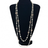 Openwork Rose Imitation Pearl Necklace