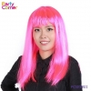 China Hen Night Party Bright Pink Long Wig for sale