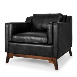 China Mid-century Modern Black Vintage Leather Armchair on sale
