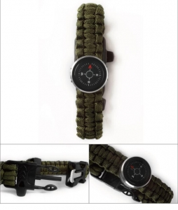 China Multifunctional Portable Survival Kit Compass With Paracord Bracelet And Whistle on sale