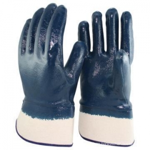 China NMSAFETY EN 388 4111 Jersey liner full coated blue nitrile industrial heavy duty rubber glove on sale