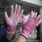 NMSAFETY colorful flowery printing garden pu gloves pu work glove