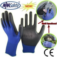 NMSAFETY pu dipped smart phone work glove with REACH certificate