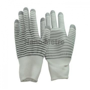 China NMSAFETY 13g white&gray nylon knit glove coating white PU on palm gloves working glove on sale