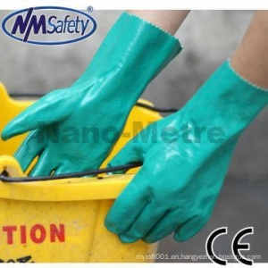 China NMSAFETY EN374 Thickness 15mil length 33cm flocklined industrial nitrile gloves/working glove on sale