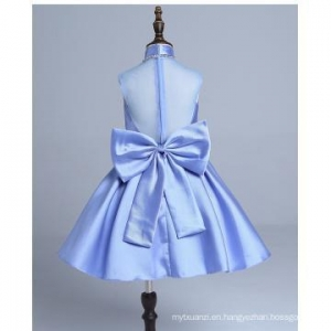 China New Bow tie Dress baby girls princess Fashion Blue Beads Wedding Dress Formal design on sale