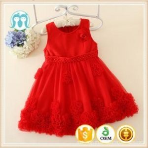 China 2015 Autumn Korean kids clothes wearing children sleeveless red flowers girls puffy dresses on sale on sale