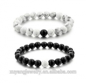 China 2pcs New Balanced Matte Black Onyx & White Howlite Beaded Bracelets for Lovers Couple (CSB0091) on sale