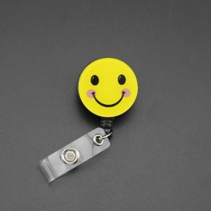 China Smiling Retractable ID Badge Reel Holder Clip Women Or Men Name Card on sale