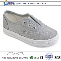 China Childrens Plain Grey White Flat Canvas Kids Soft Shoes on sale