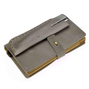 China Small Grey Cover Leather Notebook Elastic on sale
