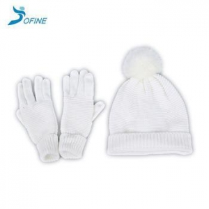 China Winter hats Warm Winter White Fashion High Quality Windproof Acrylic Beanie Gloves on sale