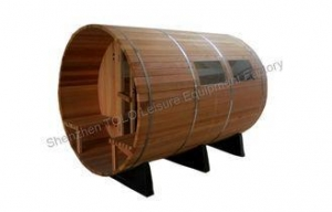 China Digital Cedar Solid Wood Barrel Sauna Room With Porch For 4 Person on sale