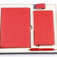 New Product Ideas 2018 Red Leather Notebook&Pen&16GB USB Office Stationery Corporate Gift Set