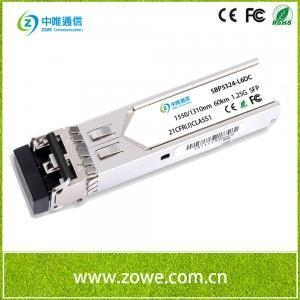 China 1.25G SFP Optical Transceiver,1550/1310nm 60km Reach LC on sale