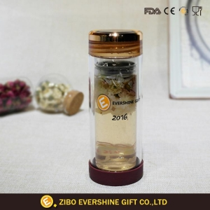 China Double Wall Glass Tea Bottle With Tea Filter And Plastic Lid on sale