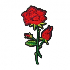 China Embroidered Red Rose Patches For Girls Dress on sale