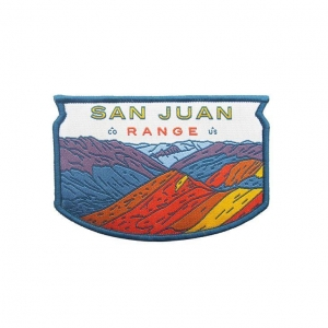 China Beautiful Scenery Garment Brand Custom Design Woven Patch on sale