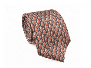 China Necktie Fashion Bubble Printed Silk Ties on sale