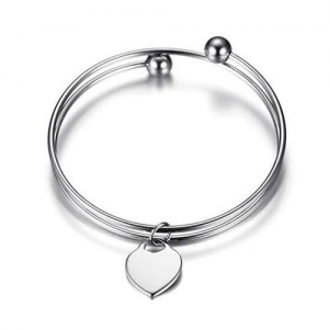 China STERLING SILVER BANGLE WITH HEART PENDANT on sale