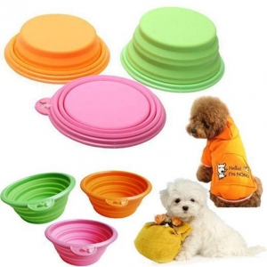 China Dog products Portable Silicone Collapsible Travel Feeding Bowl on sale
