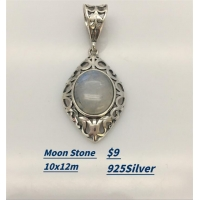 Sterling Silver Pearl Necklace Moon Stone Pendant