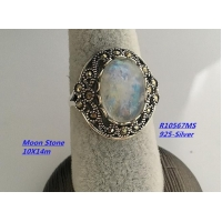 Sterling Silver Pearl Necklace Moon Stone Ring