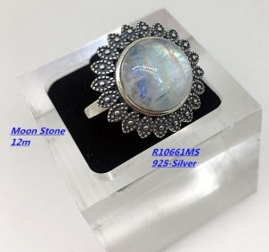 China Sterling Silver Pearl Necklace Moon Stone Ring on sale