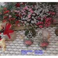Sterling Silver Pearl Necklace Rhodochrosite Earrings