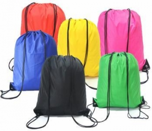 China Multi color Drawstring backpack with custom printing for promotion,advertisement and trade show on sale
