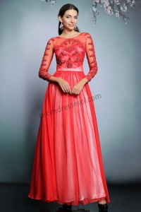 China Red Sweetheart Long Sleeves Chiffon Evening Dress SY229 on sale