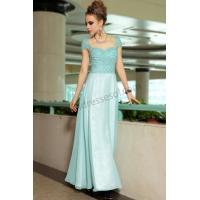 China Light blue A-line cap sleeves sweetheart chiffon bridesmaid dress S888 on sale