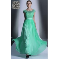 China Green cap sleeves Round neck A-line Chiffon Pageant dress S935 on sale