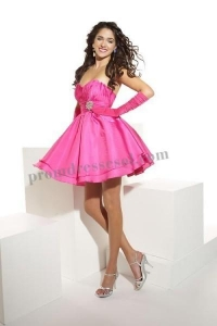 China New York Pink sweetheart satin short party dress(012) on sale